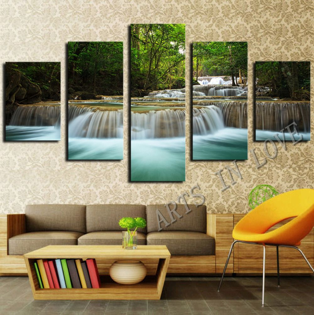 ee547c25f15 5 Panel Waterfall Painting Canvas Wall Art Picture Home Decoration Living  Room Canvas Print Painting--Large Canvas Art Unframed