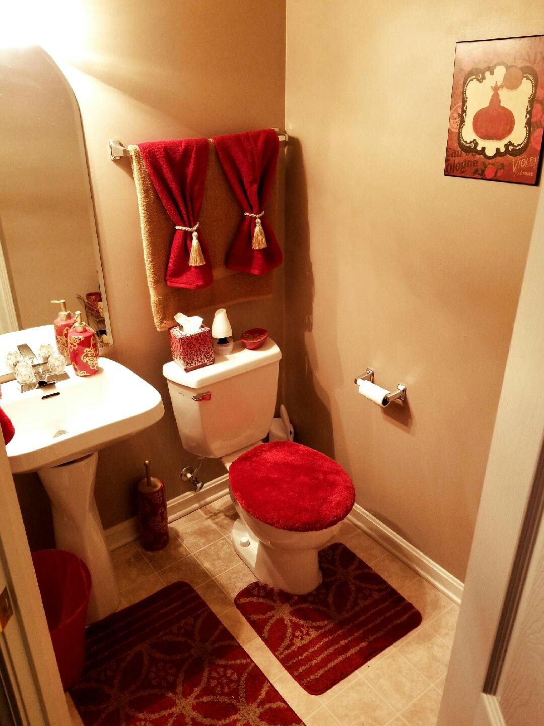 Red And Gold Guest Bathroom Decor Guest Bathroom Decor Bathroom