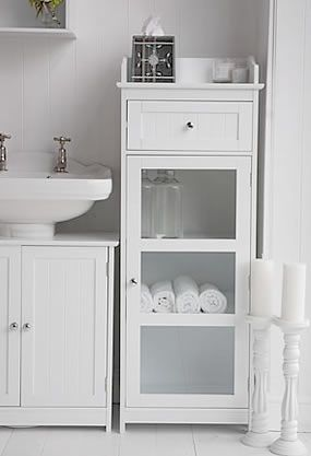 With A Pedestal Sink Bathroom Standing Cabinet White Bathroom