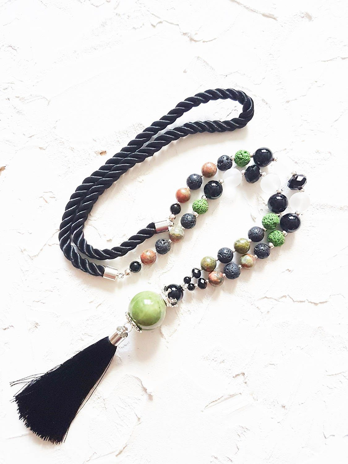 Moss green necklace, Black tassel necklace, Clear necklace, Quartz necklace, Lava necklace, Unakite necklace, Onyx necklace, Womens gift by GentleColorsJewelry on Etsy