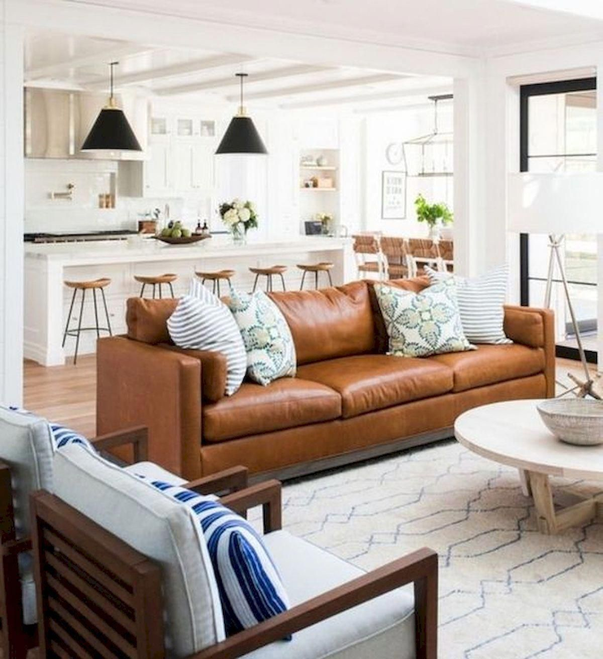 40 Best Modern Farmhouse Sofa Family Rooms Decor Ideas And Design 24 Modernhomede Farm House Living Room Brown Couch Living Room Leather Couches Living Room