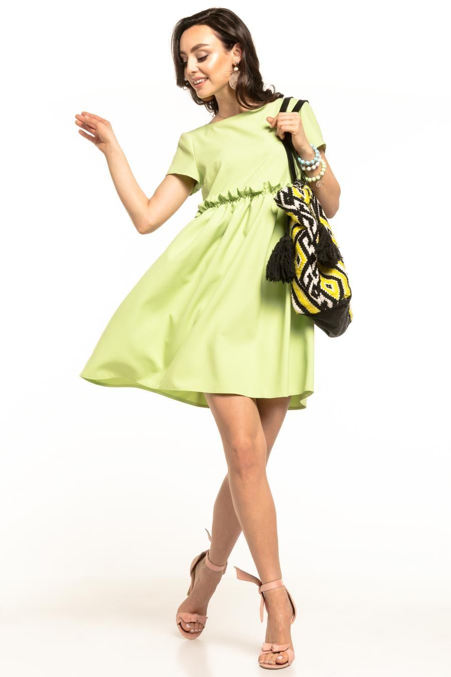 Letnia Sukienka Z Marszczeniem Falbanka Jasnozielona Te306 Fashion Cold Shoulder Dress Dresses