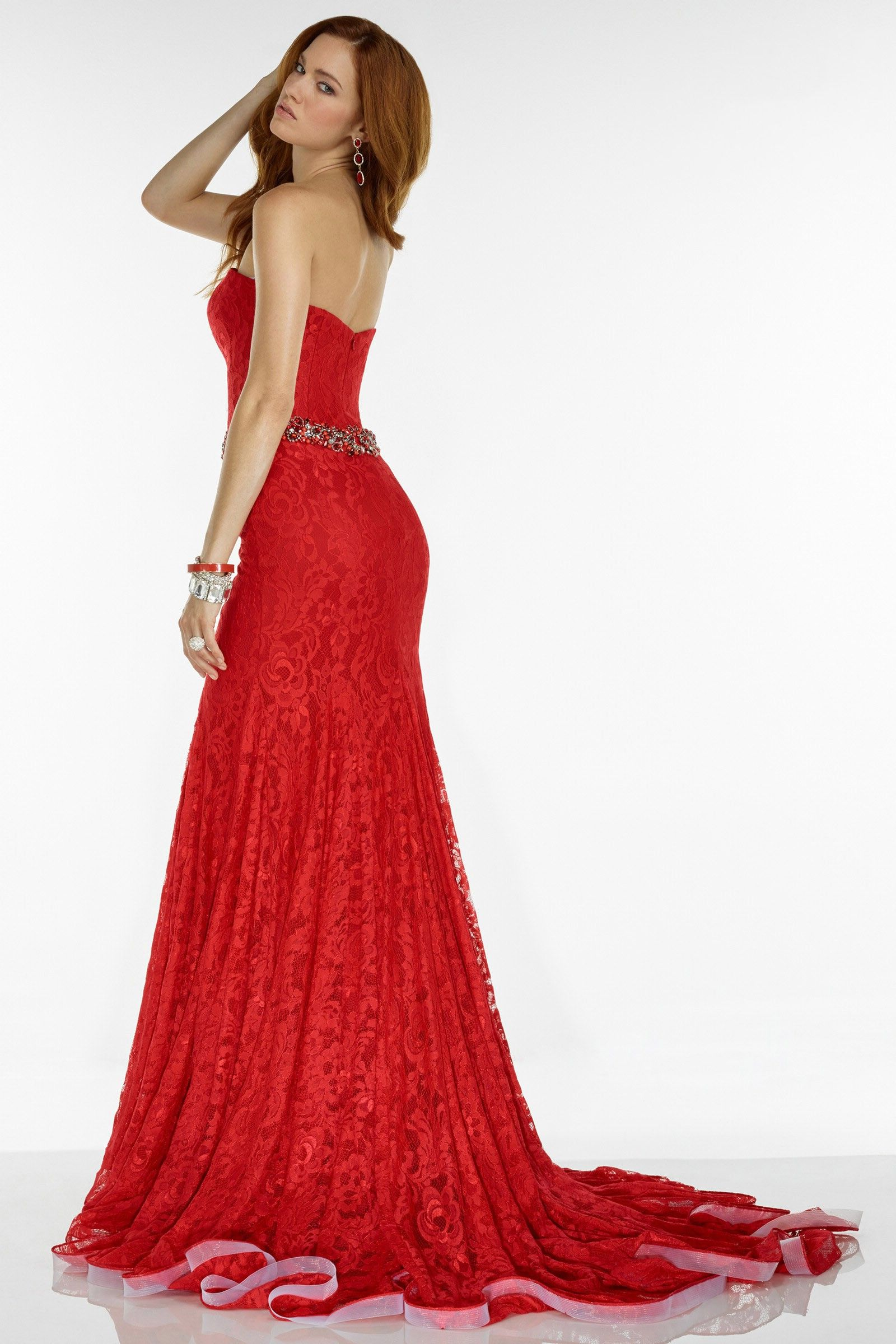 Zipper back red sweetheart lace trumpet mermaid prom dress cac