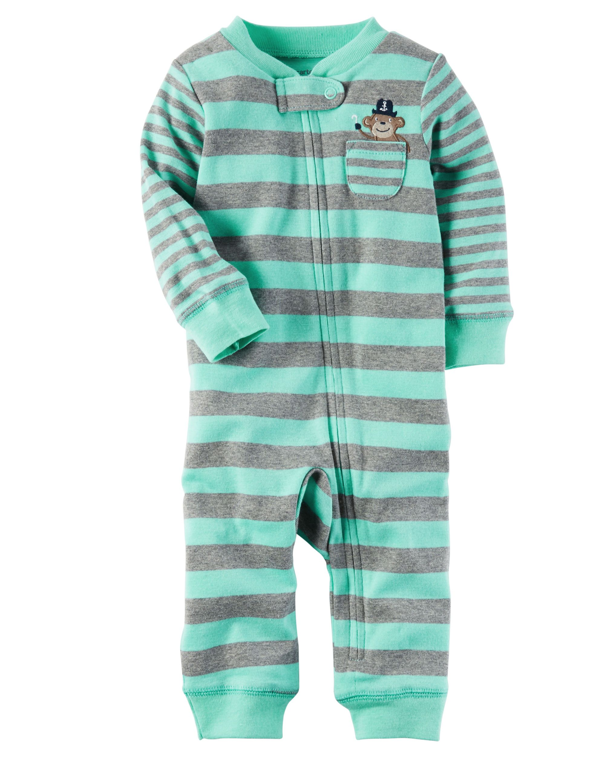 Baby Boy Cotton Zip-Up Footless Sleep   Play  c33db2c7d