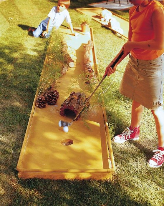Great mini golf idea for the garden. Great summer idea!
