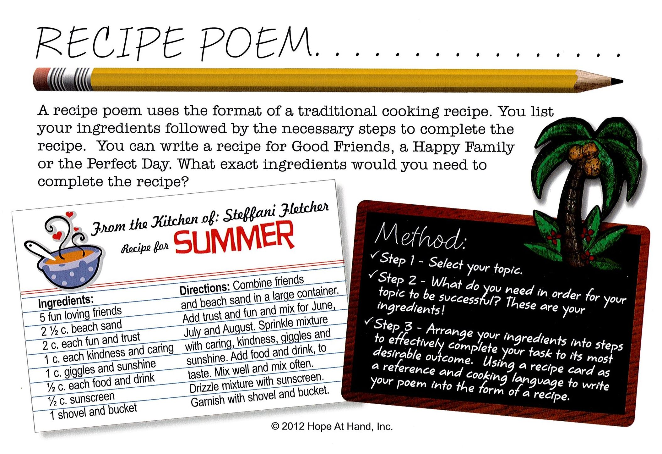 A Recipe Poem Is A Poem That Uses A Word And Gives The Ingredients And Directions It Takes To Make Or Achieve Writing Prompts For Kids Food Writing You Poem