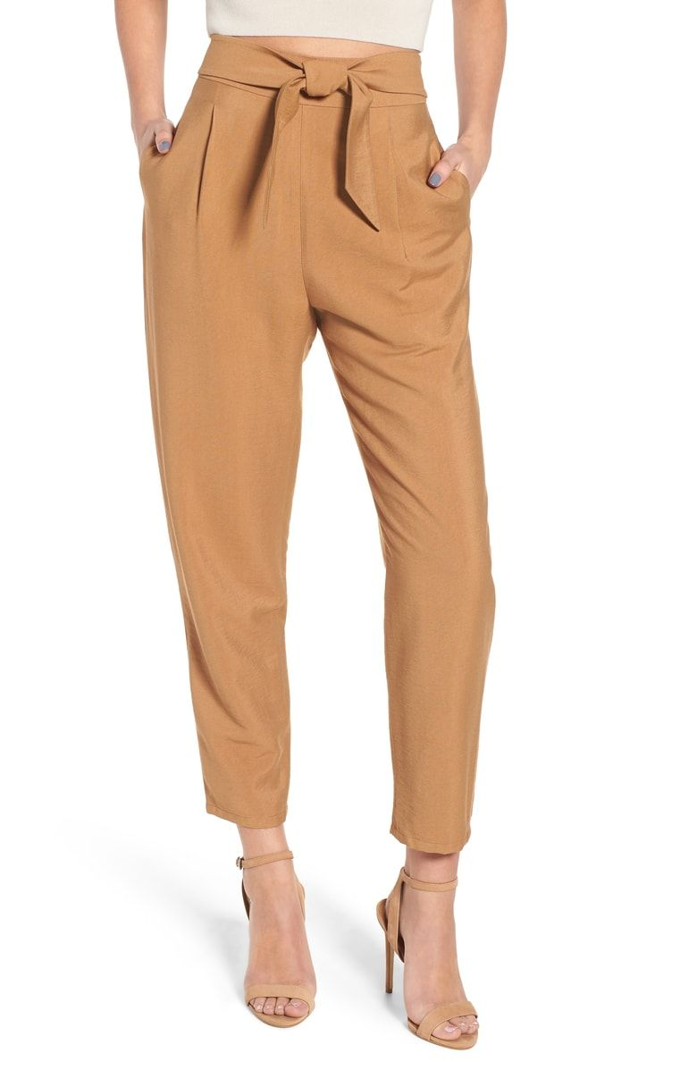 594a8a6aa Free shipping and returns on Leith Tie Front Pant at Nordstrom.com. A  center-tying knot cinches light, versatile trousers gifted with dimensional  pleats and ...