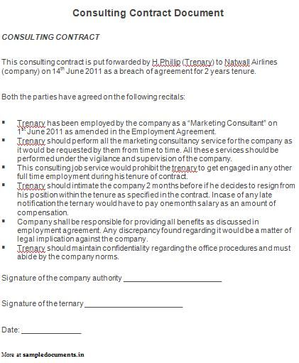 Consulting Contract Document Sample Contracts – Consultant Contract Template