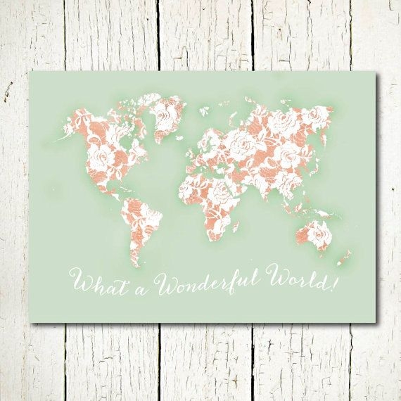 My inspiration from all the world by svetlana pershina on etsy world map mint and peach nursery printable by sunnyrainfactory gumiabroncs Image collections