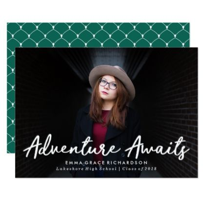 Adventure Awaits Graduation Announcement - script gifts template - graduation announcement template