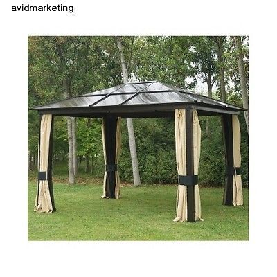New 12 X10 Outdoor Gazebo Hardtop Roof Aluminum Metal Canopy Mesh Walls Patio Patio Canopy Gazebo Backyard Canopy