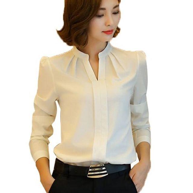 507fd04329283 Mulheres blusas New Arrival moda primavera outono estilo coreano manga  comprida Chiffon blusa Ladies escritório camisa branca Tops formais