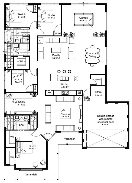 House floor plan elevation v1 house plansn1 pinterest house Small bathroom floor plans australia