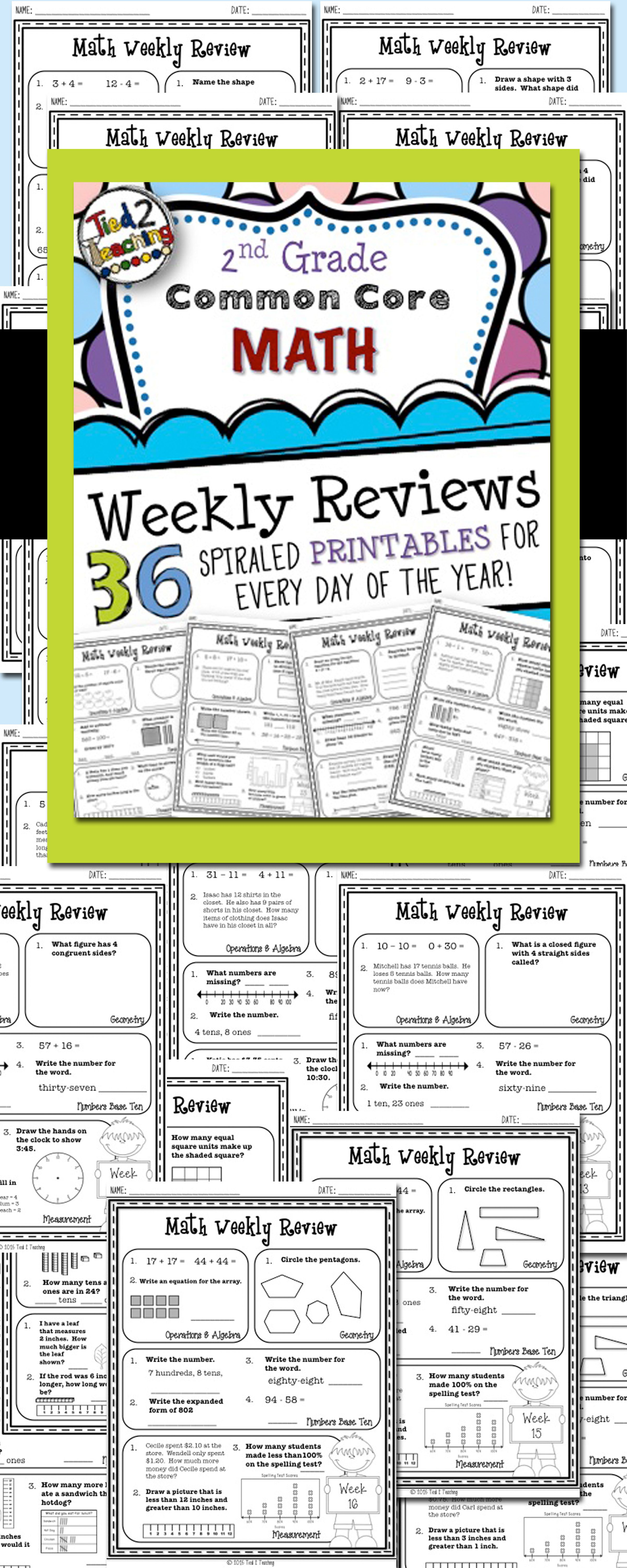 2nd Grade Math Common Core Weekly Review Printables