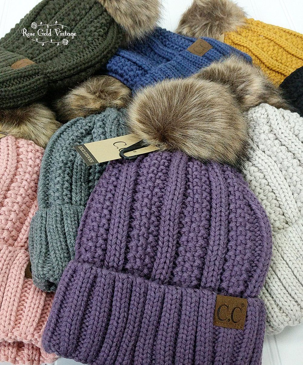 8c236279d Sherpa Lined Fur Pom CC Beanies – Rose Gold Vintage | Fall / Winter ...