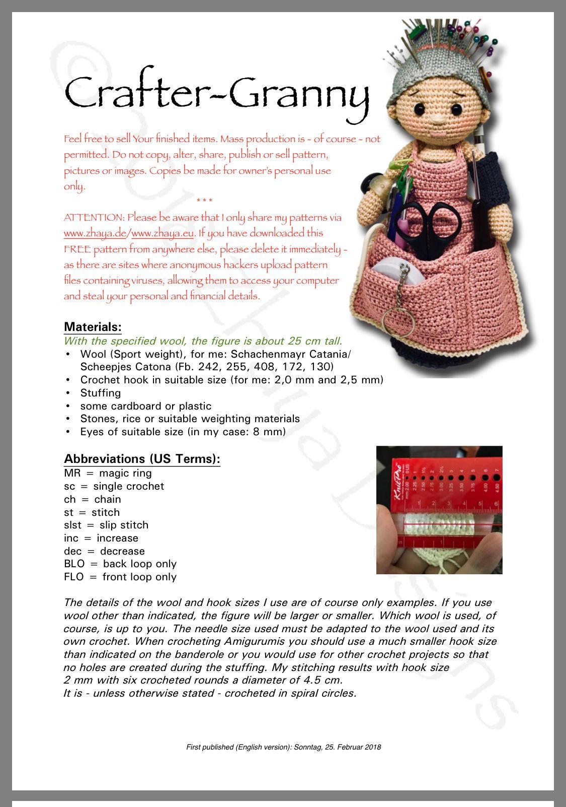 Crafty Granny Supply Holder Crochet Dolls Free Patterns Crochet