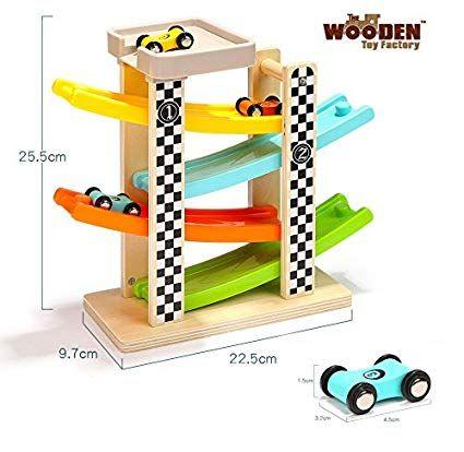The Wooden Toy Factory - Circuit De Voiture Click Clack avec 6 Voitures - Comprend Un Parking ...