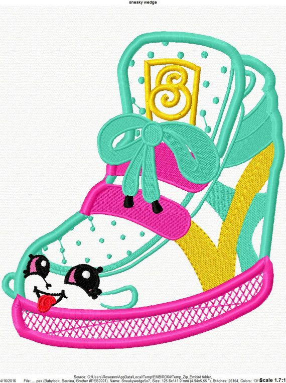 Shopikins sneaky wedge machine embroidery applique design