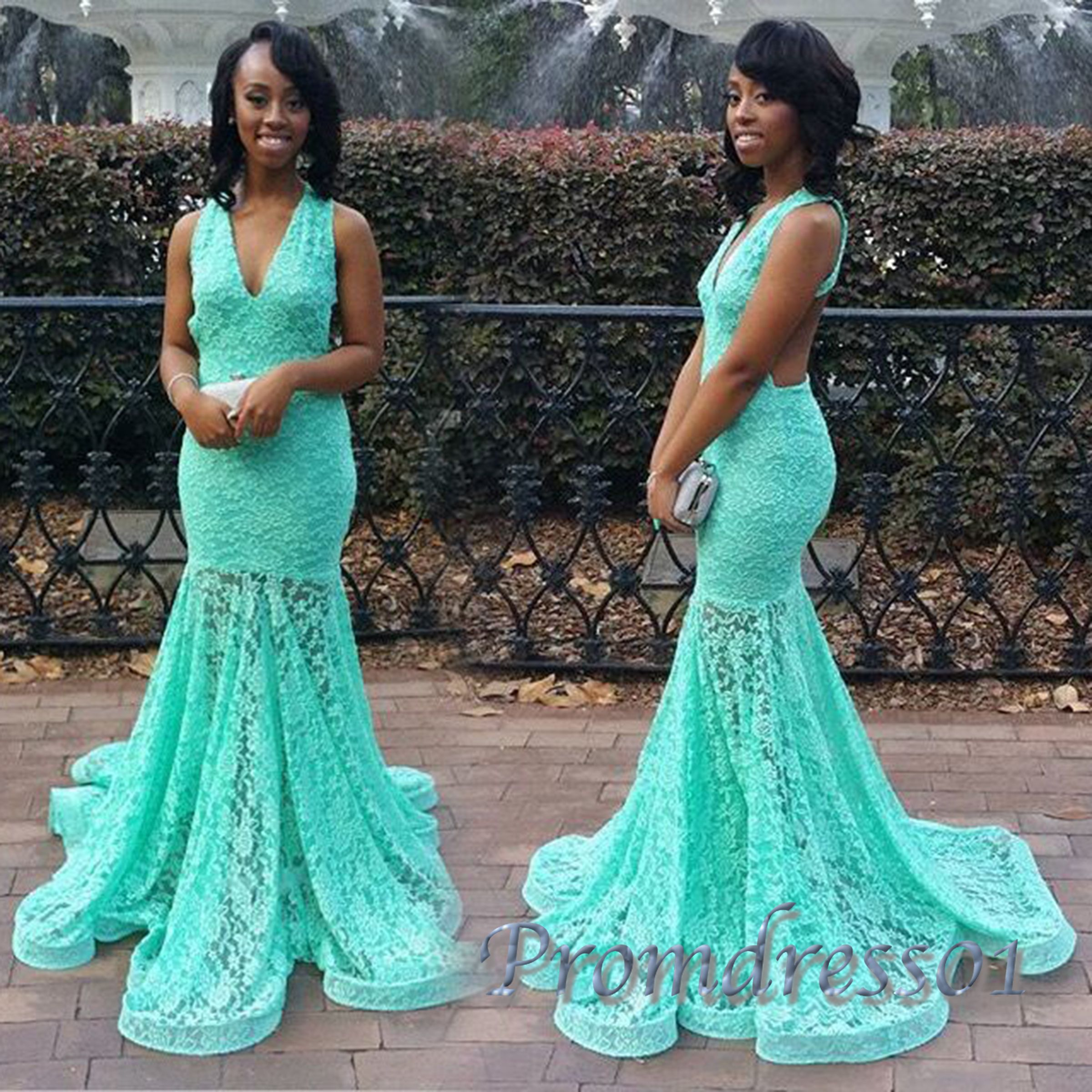Cute vneck turquoise lace mermaid prom dress long evening dress