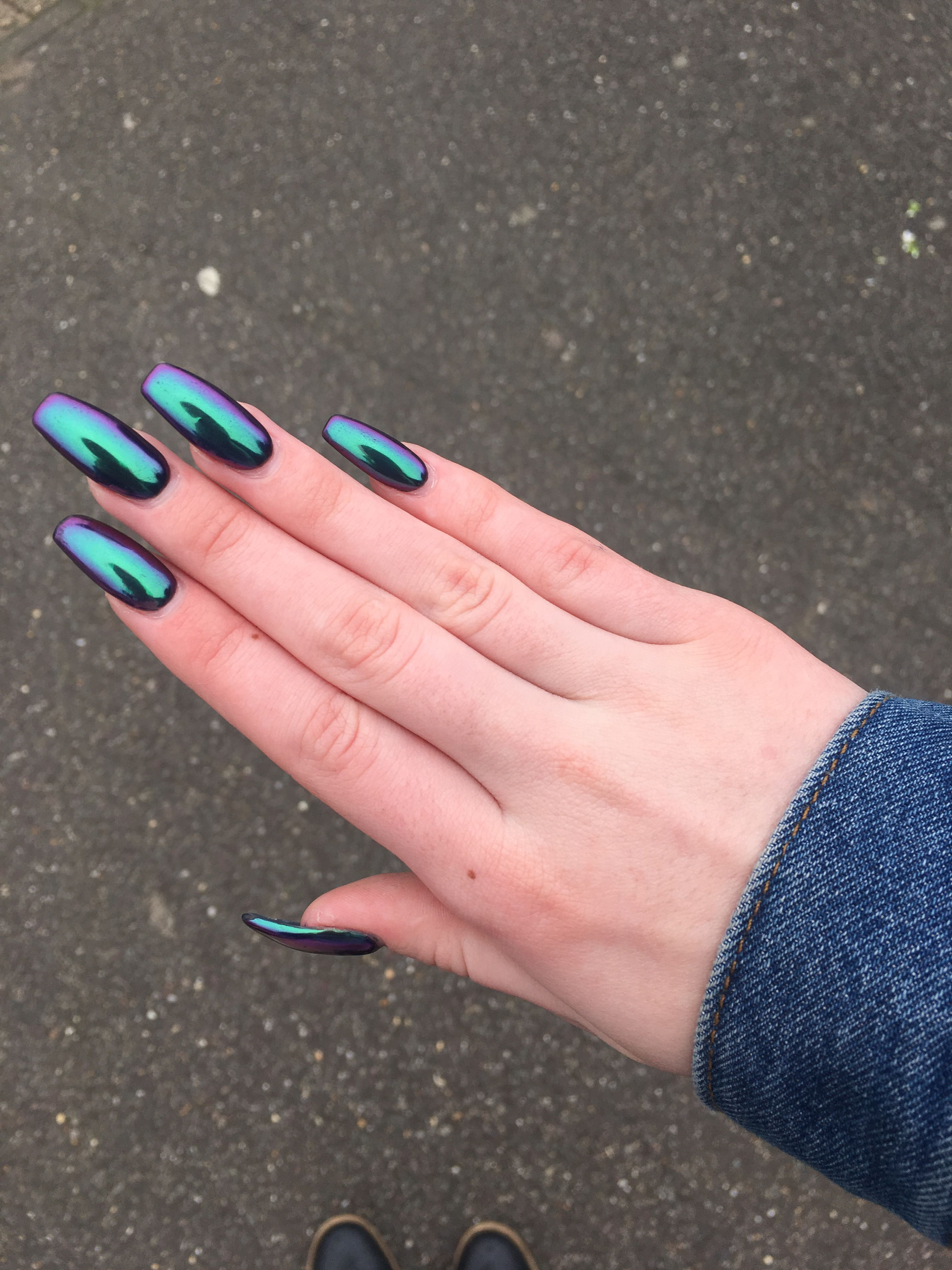 Metallic acrylic nails holographic nails acrylic nail