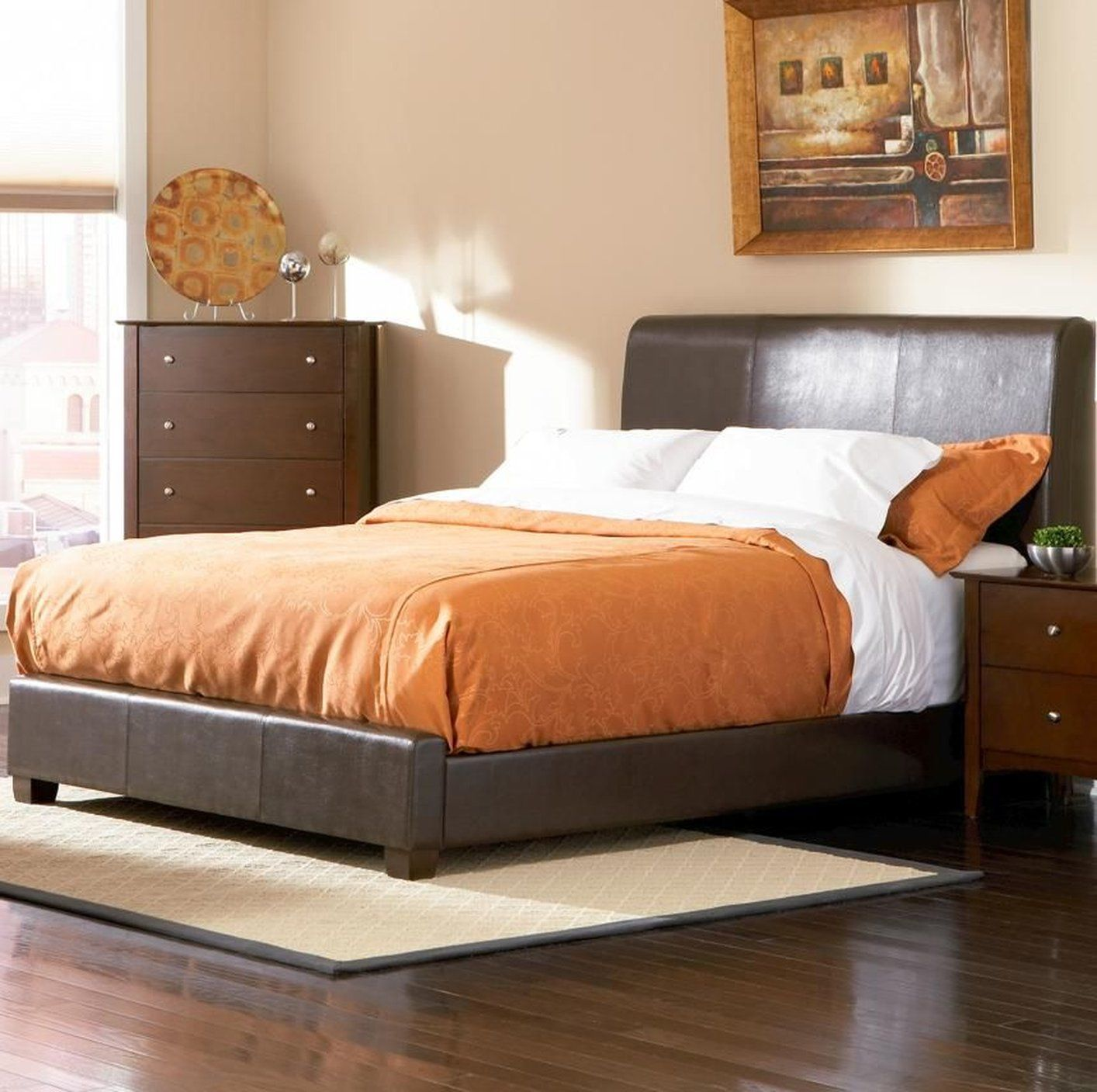 awesome California king beds with orange bedding | King Beds | Pinterest