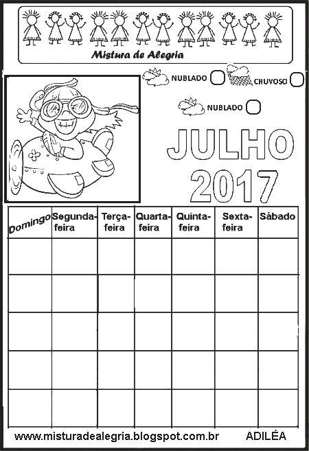Calendario De 2017 Para Imprimir Completar E Colorir Com Imagens