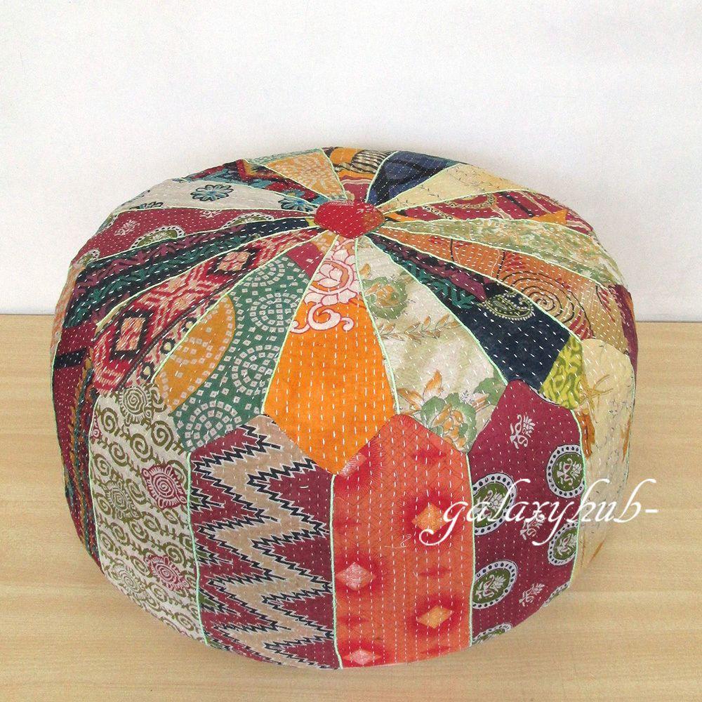 Pin On Kantha Patchwork Ottoman