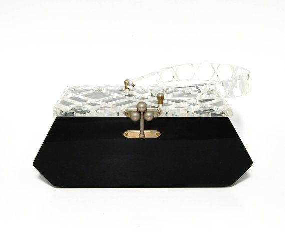 Lucite Charles Kahn Florida Handbag Purse in Black with Clear Carved Lucite Lid 1950s Geometric Shape