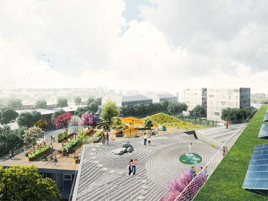 BIG divulga projeto de escola secundária em Arlington,© BIG