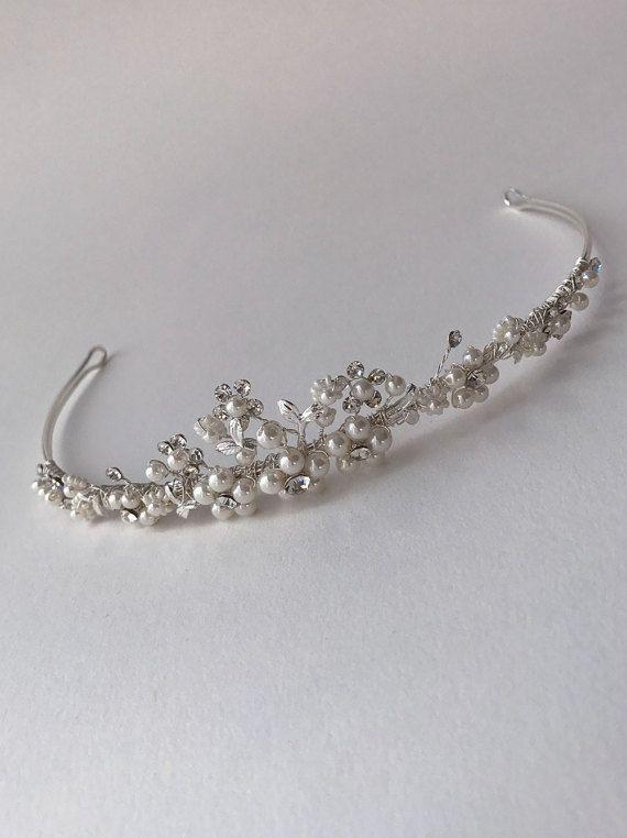 Pearl and Rhinestone Tiara Bridal Hair Accessory Rhinestone