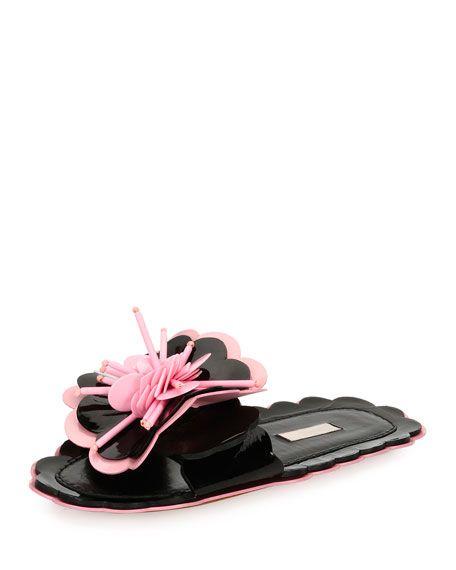 ed8a74ad0e4b0f Patent Flower Flat Slide Sandal