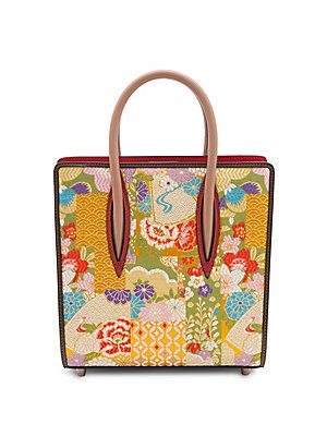 db80b1000b5 Christian Louboutin Paloma Small Embroidered Patent Leather and Silk Tote