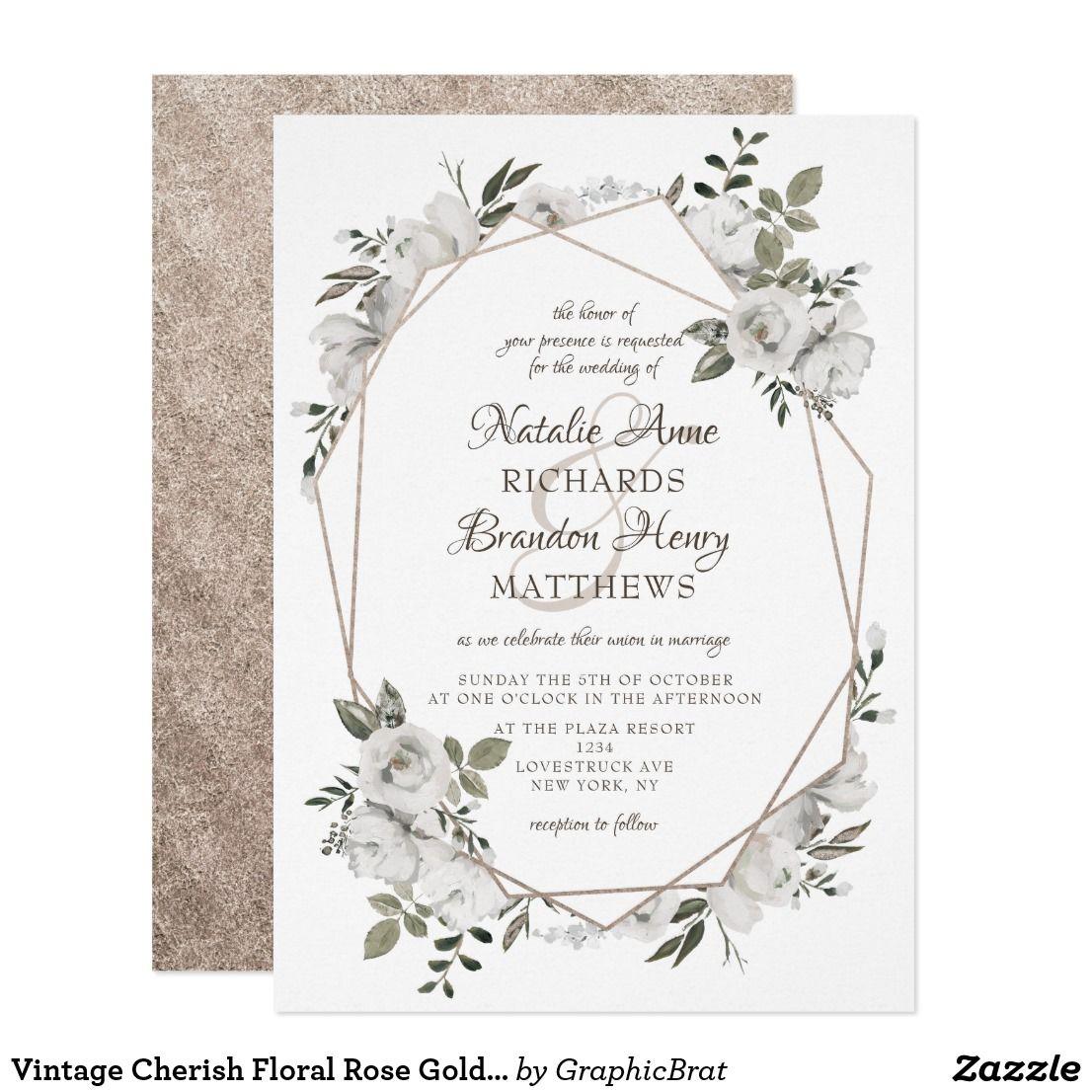 Vintage Cherish Floral Rose Gold Geometric Wedding Invitation White Painted Roses And Flowers: Funny Shotgun Wedding Invitations At Websimilar.org