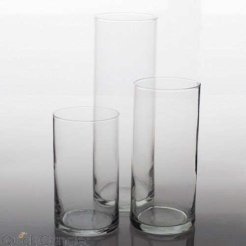 Eastland Cylinder Pillar Candle Holders 6 Quot 7 5 Quot Amp 10 5 Quot Set Of 3 The Real Deal Glass