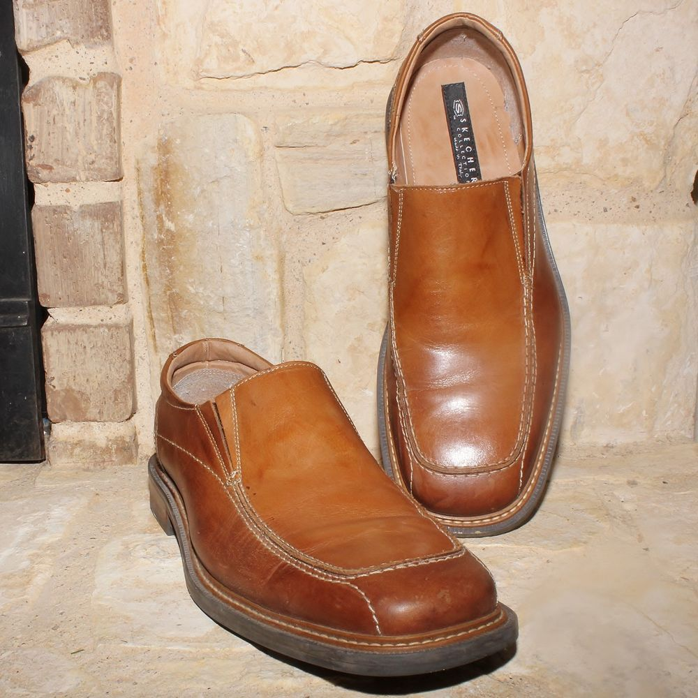 Skechers Mens Cities Of Gotham Casual Brown Loafers Made In Italy