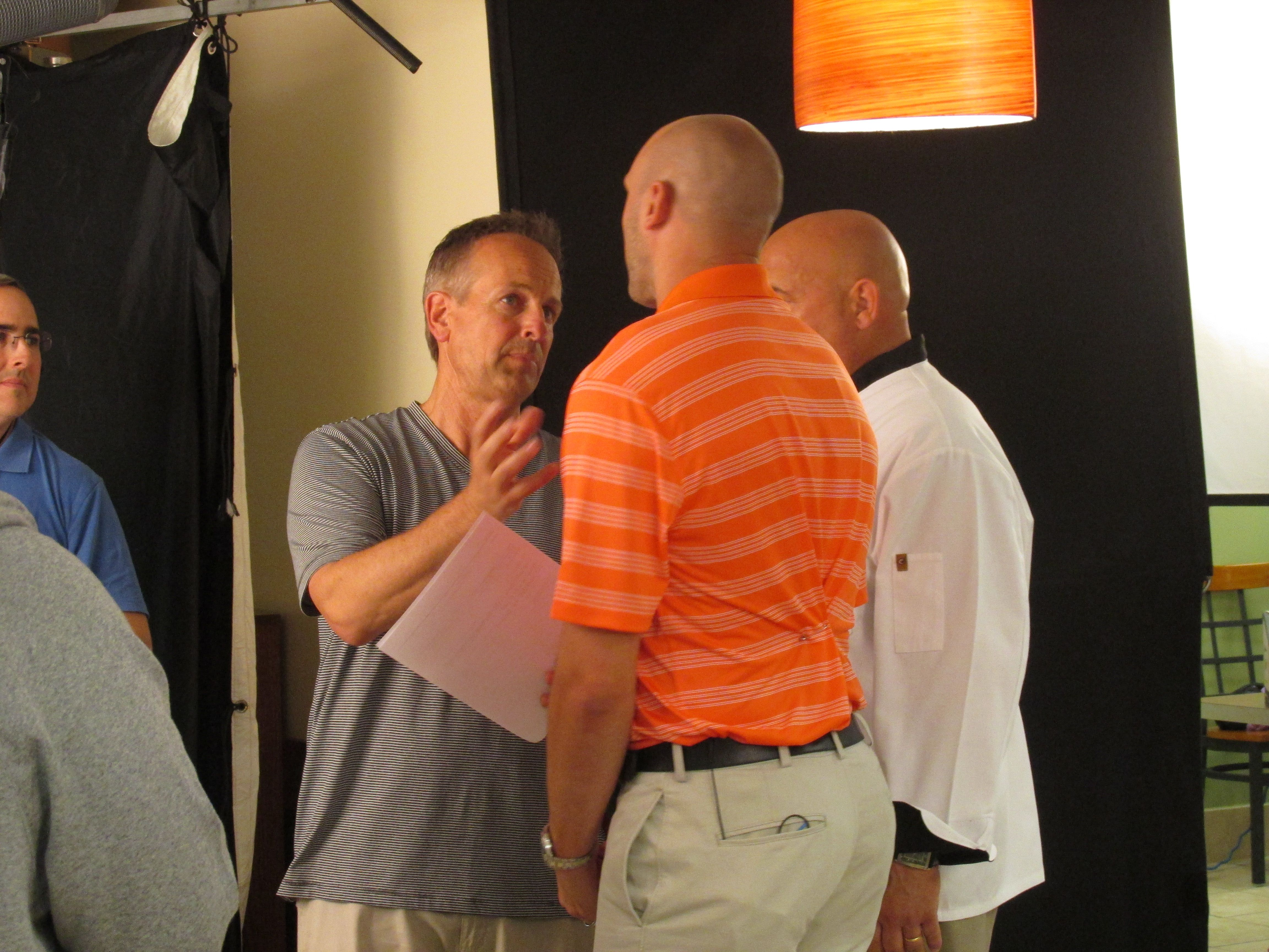 Chef Jim On The Tv Set With Cleveland Quarterback Brian Hoyer And The Tv Producer Ted Brian Hoyer Tv Radio Station