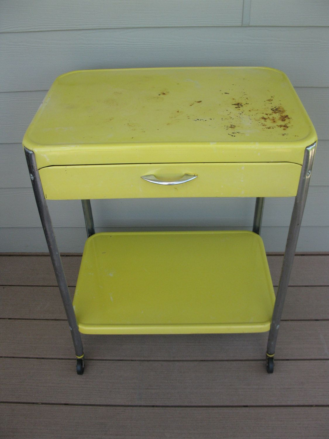 Yellow Cosco Metal Rolling Cart With Drawer Rare 2