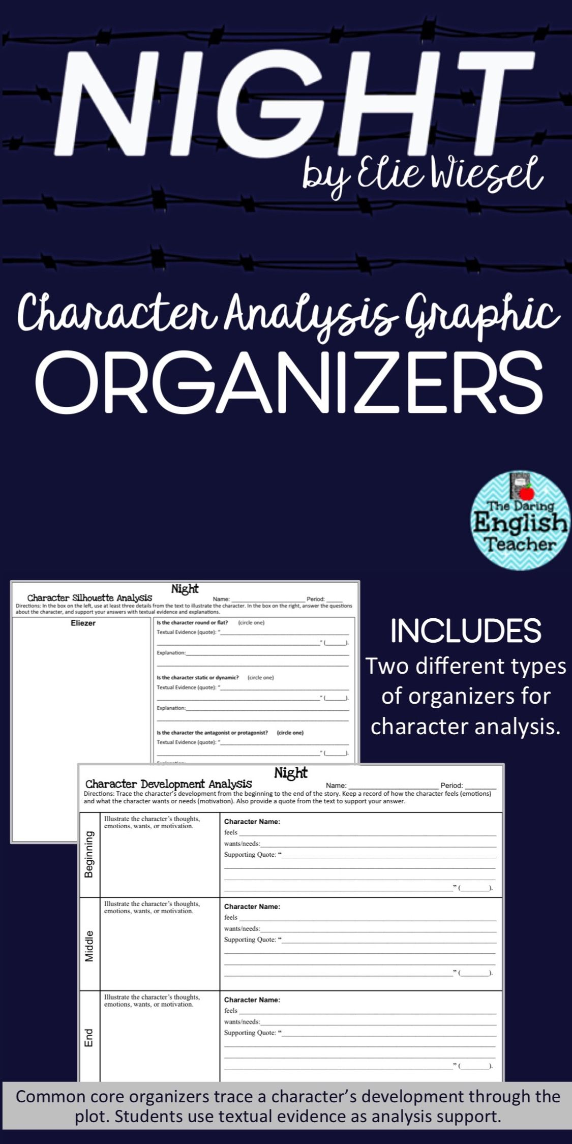Night By Elie Wiesel Characterysis Graphic Organizers