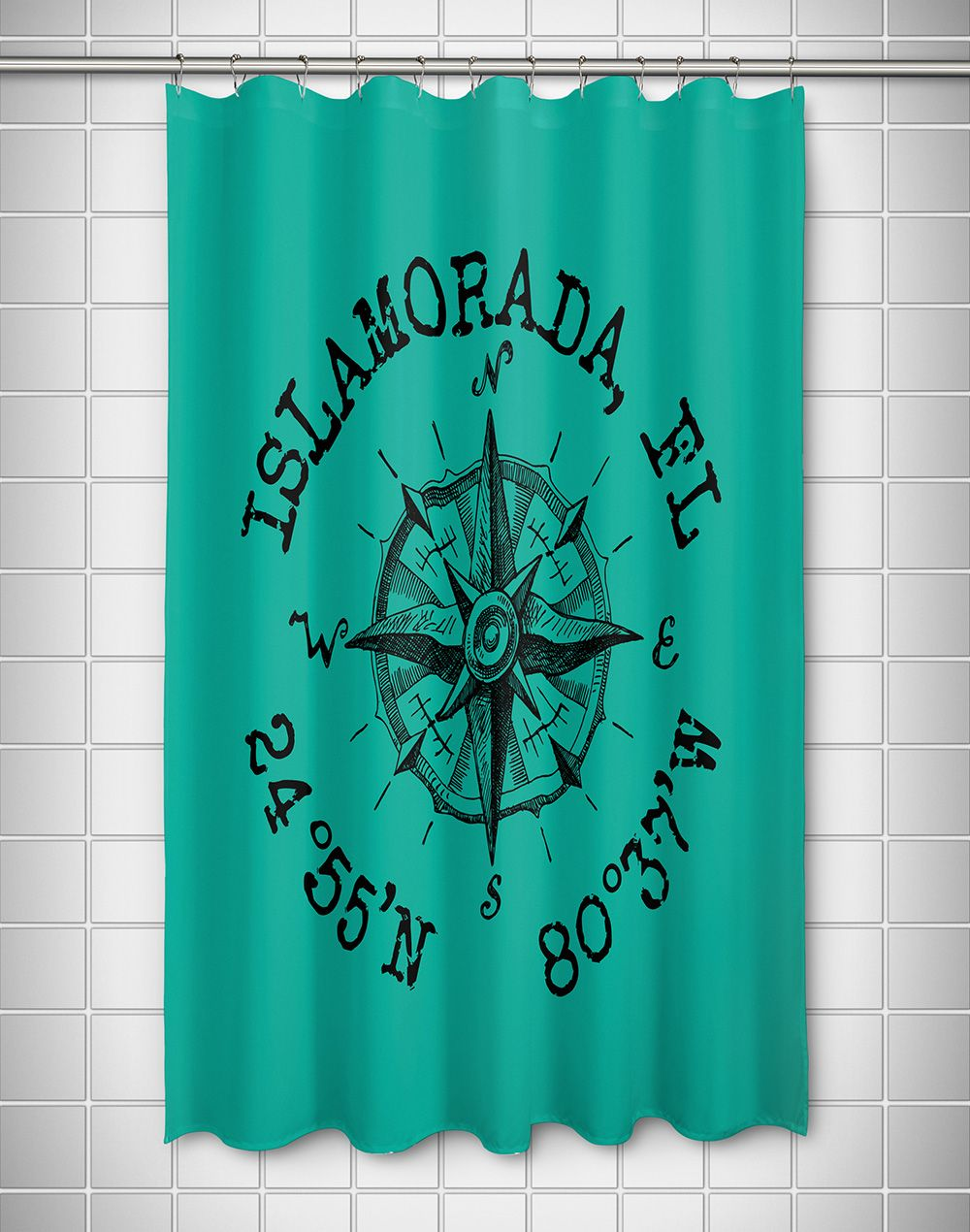 Custom Compass Rose Coordinates Shower Curtain Aqua Custom