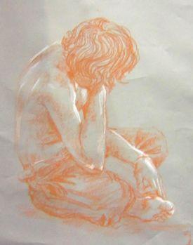 Conte Figure Drawing - Northwest High School