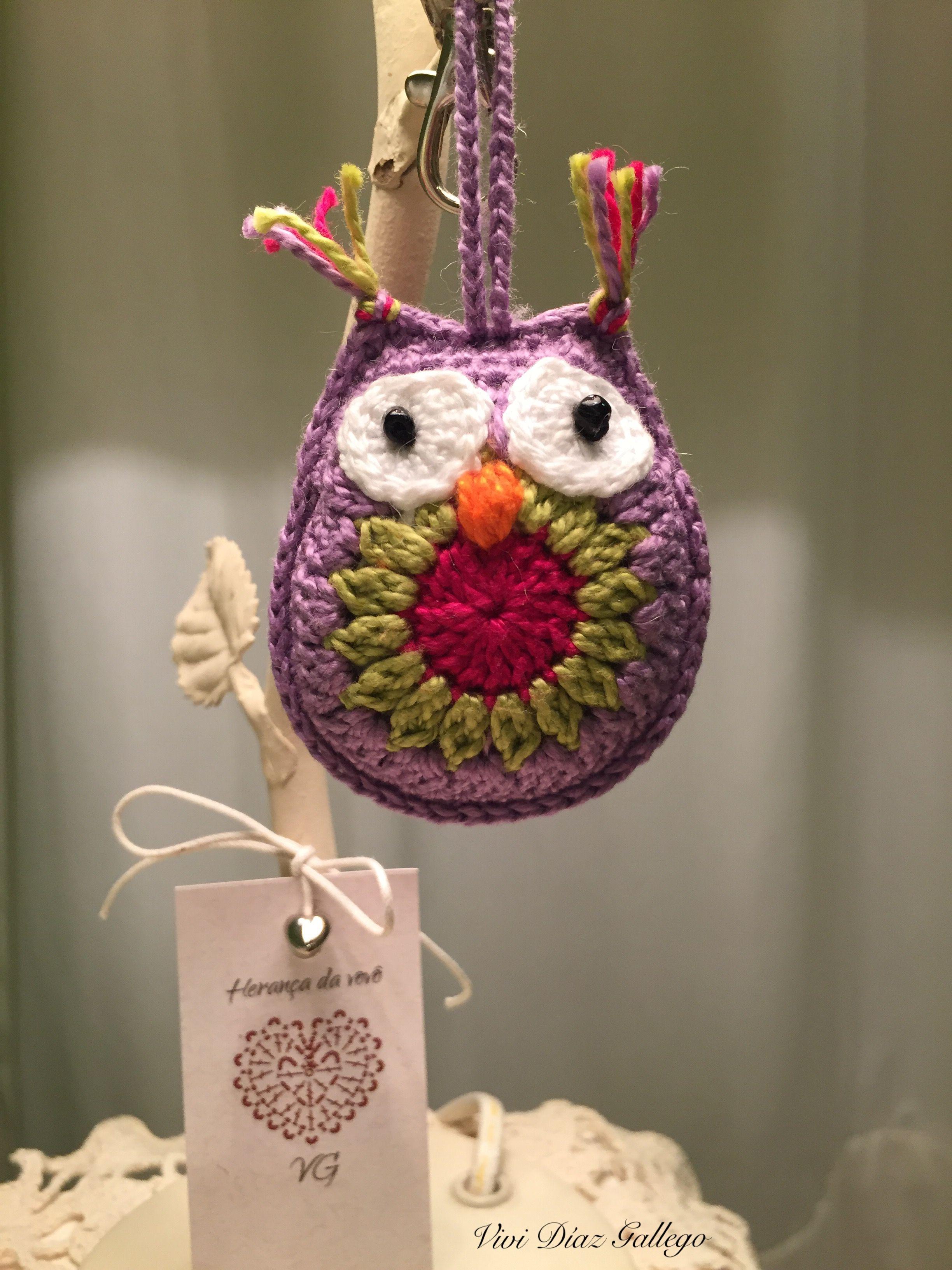 Búho tejido al crochet con aguja 1.75, hilo Anne de Círculo. | Buhos ...