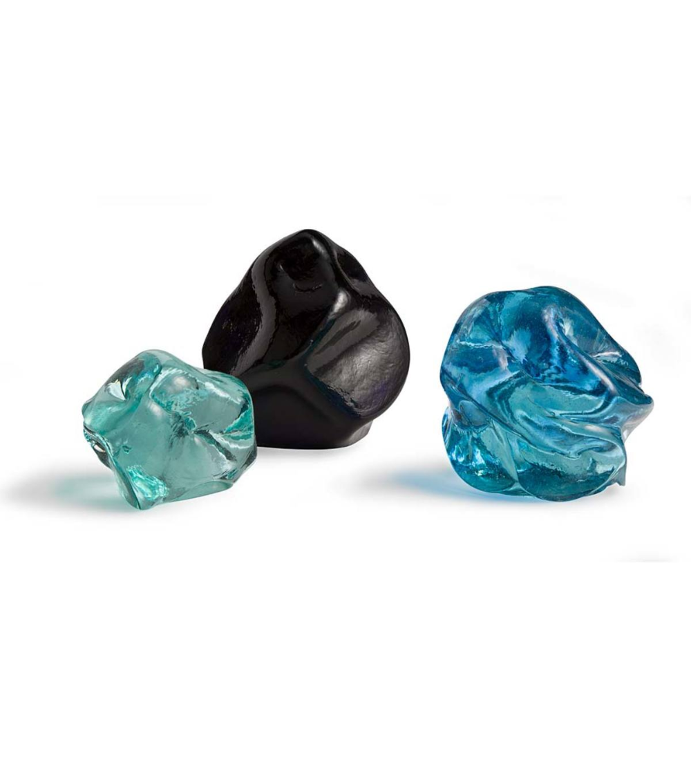 Recycled Glass Stones Set Of 3 Vivaterra Recycled Glass Organic Glass Glass Sculpture
