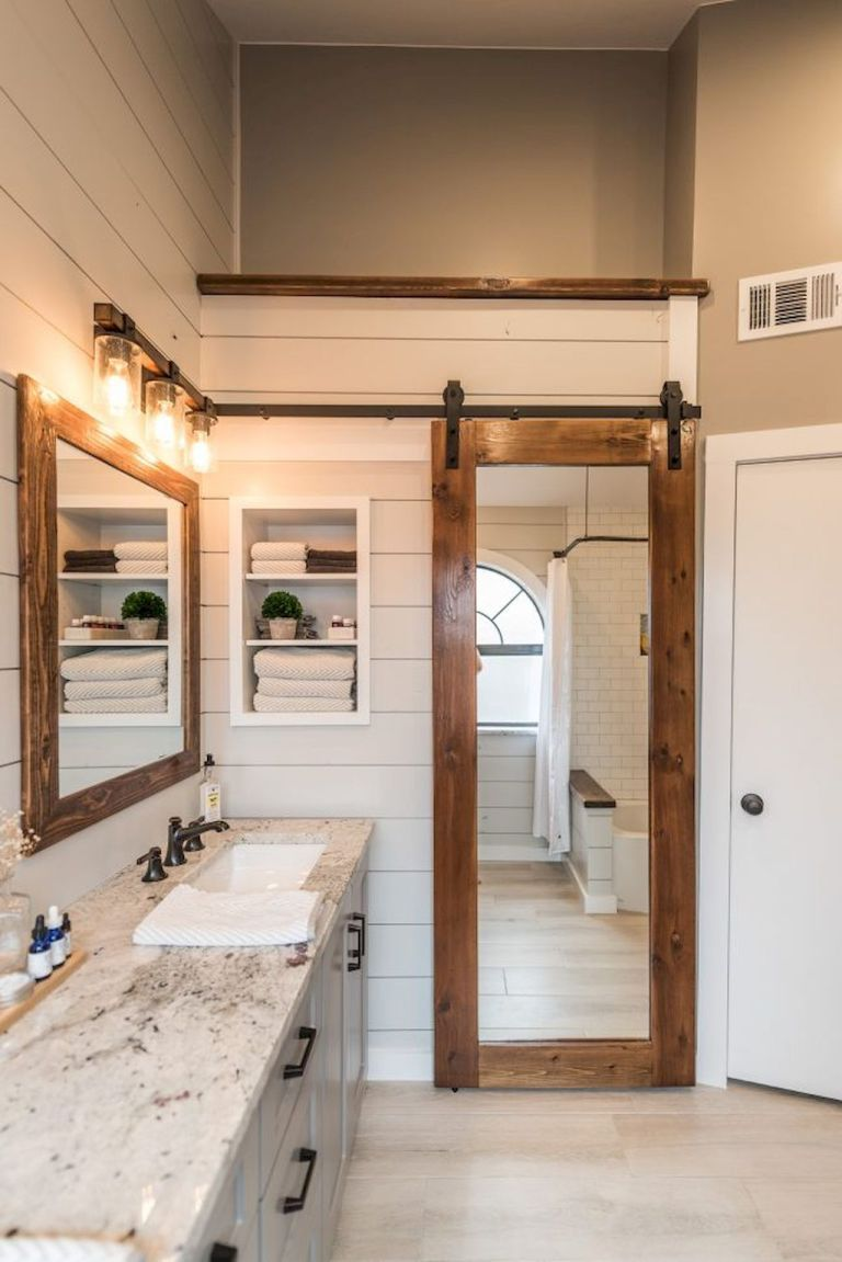 Rustic farmhouse master bathroom remodel ideas (38) | Farmhouse ...