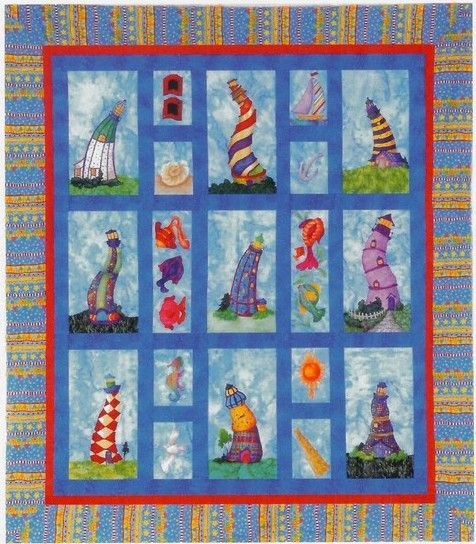 Lighthearted Lighthouses Applique Quilt Pattern + Free ...