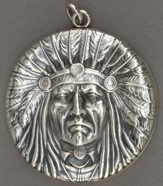 Unger Brothers Sterling Silver Indian Chief Pendant In