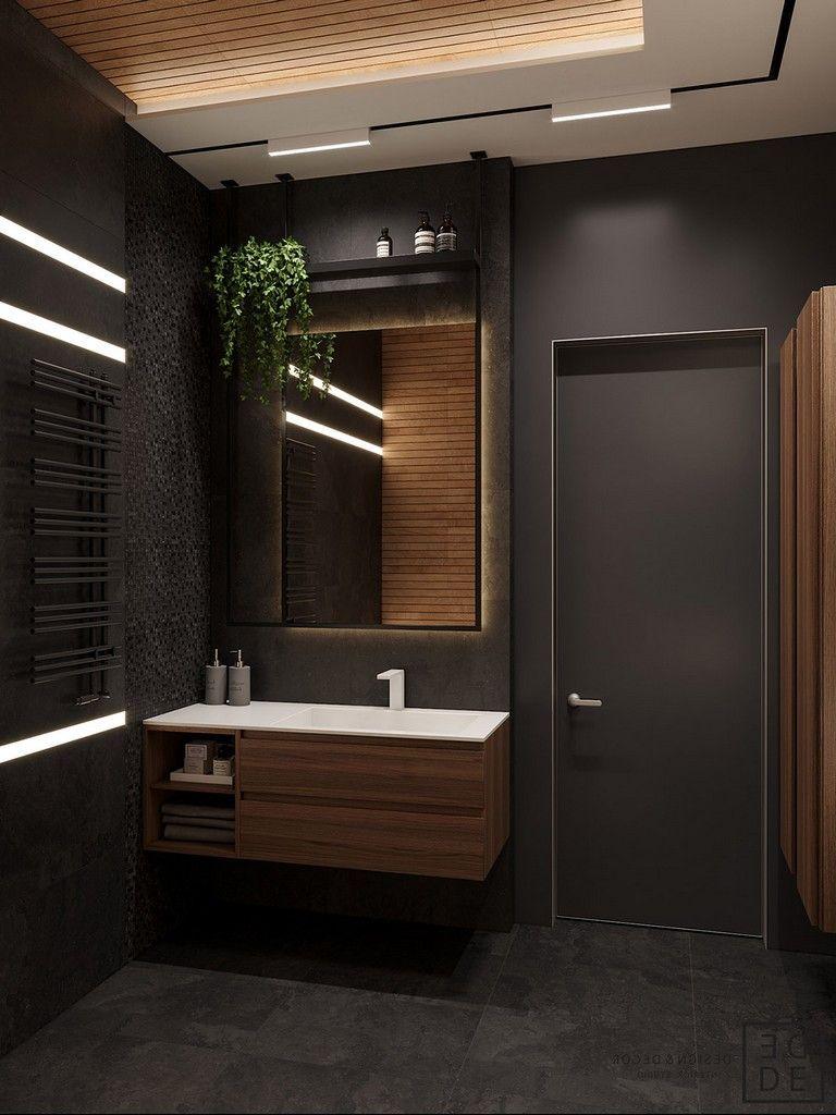 35 Deluxe Interior Design Ideas With Wood Slat Walls Basement Bathroom Modern Bathroom Design Bathroom Interior Design