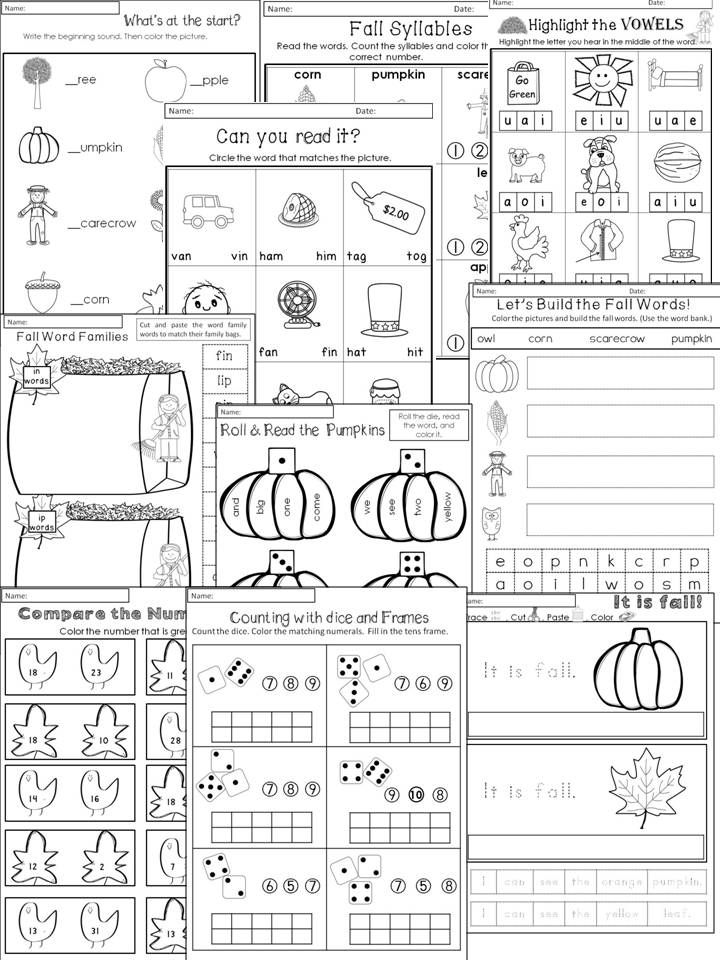 Fall Activities for Kindergarten Math Worksheets and