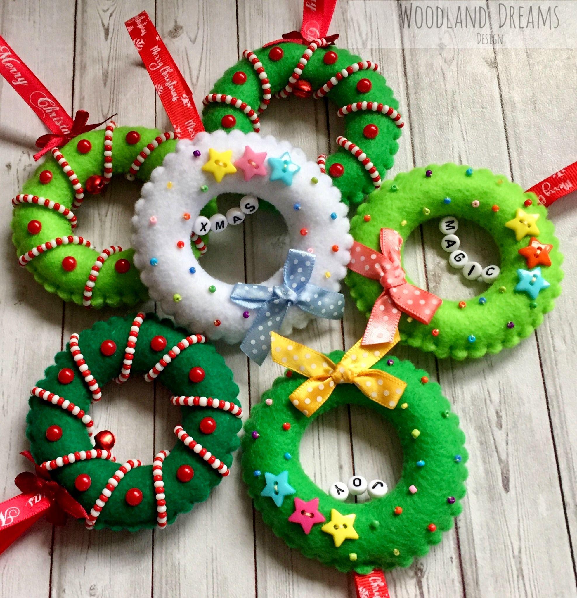 Mini Felt Christmas Wreath Felt Beaded Christmas Ornament Handmade