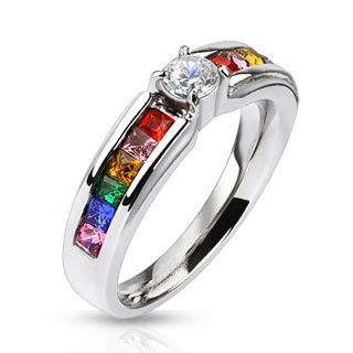 celebration stainless steel engagement ring with clear center gem and rainbow czs - Rainbow Wedding Rings