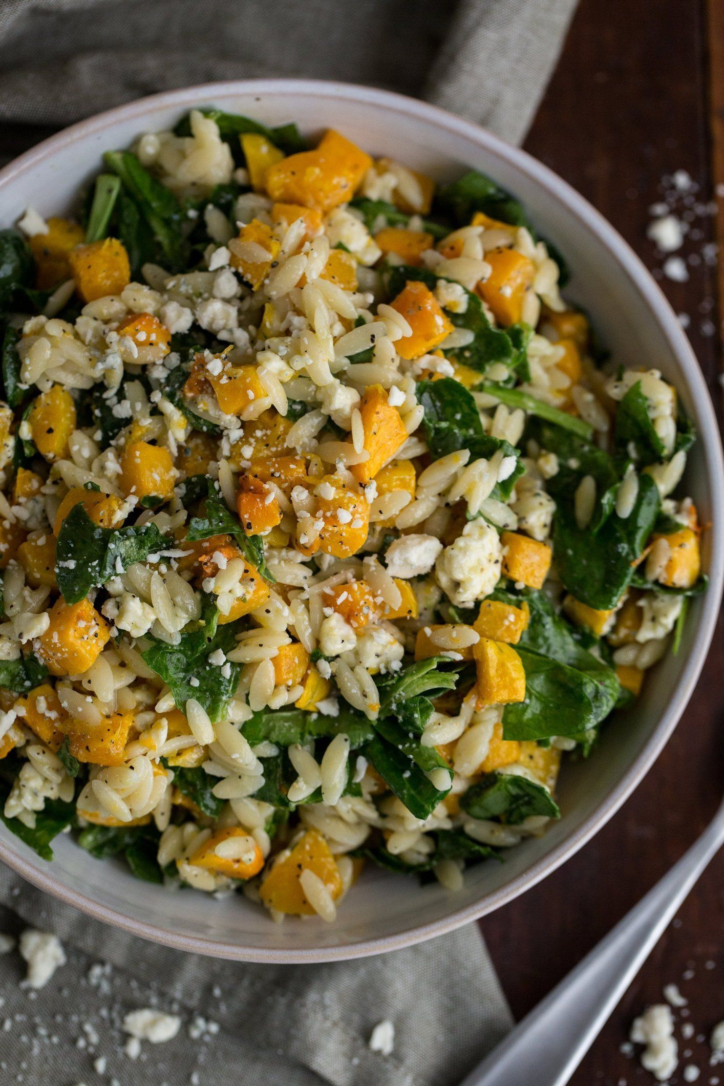 Orzo With Butternut Squash Spinach Blue Cheese
